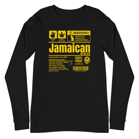 A Product of Jamaica - Jamaican Unisex Long Sleeve Tee (Yellow Print) - Trini Jungle Juice Store