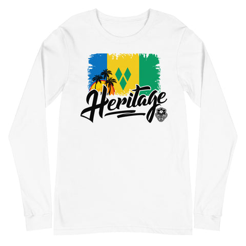 Heritage - St. Vincent and The Grenadines Unisex Long Sleeve Tee (White) - Trini Jungle Juice Store