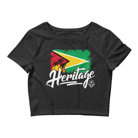 Heritage - Guyana Women's Crop Tee (Black) - Trini Jungle Juice Store