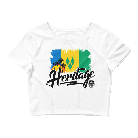 Heritage - St. Vincent and The Grenadines Women's Crop Tee (White) - Trini Jungle Juice Store