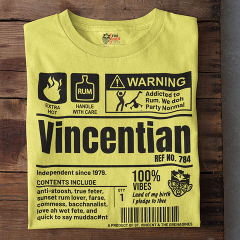 A Product of St. Vincent and The Grenadines - Vincentian Unisex T-Shirt (Black Print)