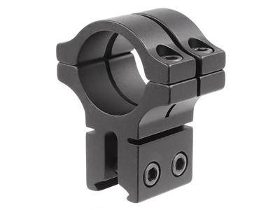 "BKL Single 1"" Double Strap Ring, 3/8"" or 11mm Dovetail, 1"" Long, Black - Mile High AirGuns"