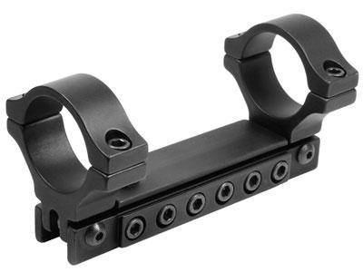 "BKL 1-Pc Adjustable Scope Mount, 30mm Rings, 3/8"" or 11mm Dovetail, Black - Mile High AirGuns"