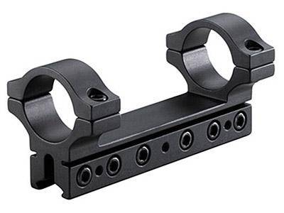 "BKL 1-Pc Mount, 4"" Long, 1"" Rings, 3/8"" or 11mm Dovetail, 6 Base Screws, .007 Drop Compensation, Matte Black - Mile High AirGuns"