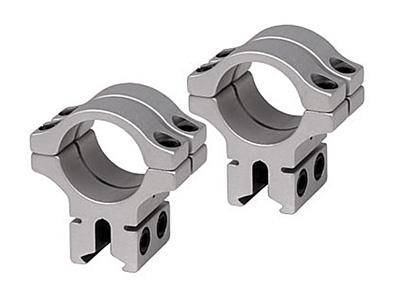 "BKL 1"" Rings, 3/8"" or 11mm Dovetail, Double Strap, Silver - Mile High AirGuns"