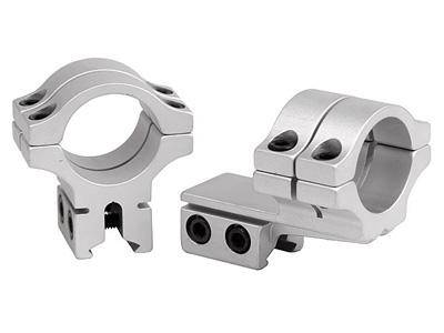 "BKL 1"" Rings, 3/8"" or 11mm Dovetail, Double Strap, Offset, Silver - Mile High AirGuns"
