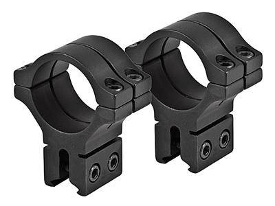 "BKL 30mm Rings, 3/8"" or 11mm Dovetail, Double Strap, Matte Black - Mile High AirGuns"