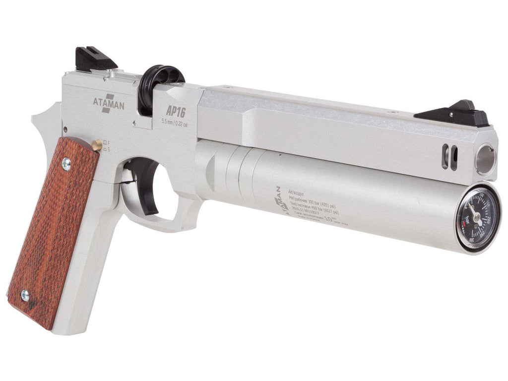 Ataman AP16 Regulated Compact Air Pistol, Silver - Mile High AirGuns