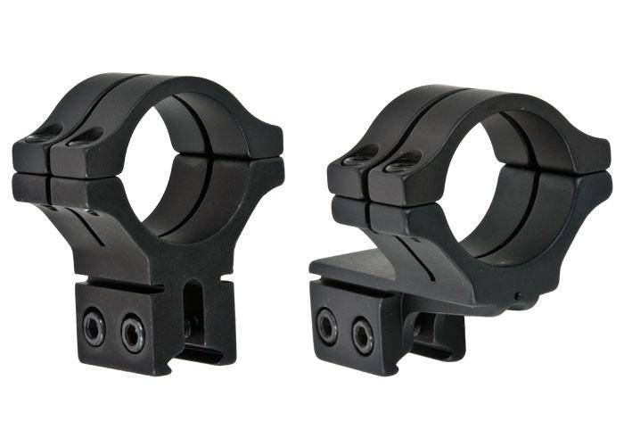 "BKL 30mm Rings, 3/8"" or 11mm Dovetail, Double Strap, Offset, Matte Black - Mile High AirGuns"