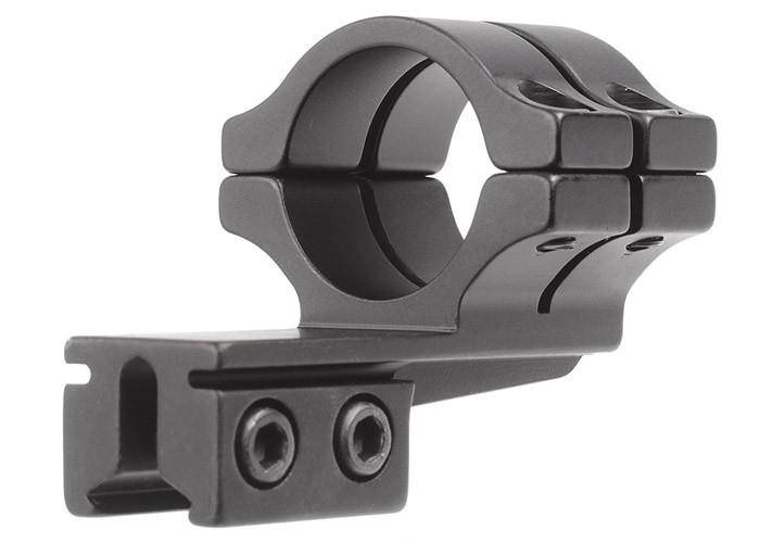"BKL Single 1"" Double Strap Offset Ring, 3/8"" or 11mm Dovetail, 1"" Long, Medium, Black - Mile High AirGuns"
