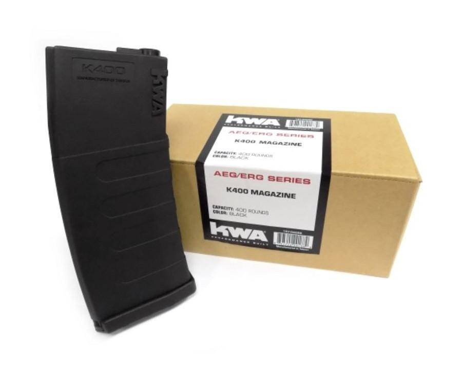 KWA K400 AEG ERG Black 400 High Capacity Airsoft Rifle Magazine, 3ct - Mile High AirGuns