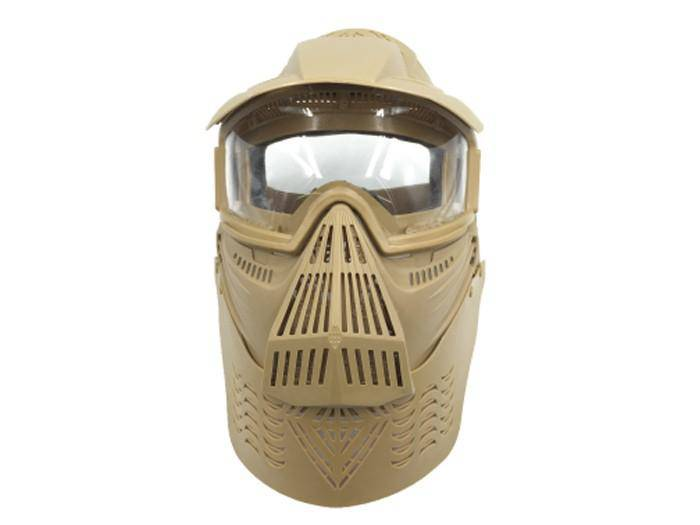 Bravo Airsoft Full Face Mask with Poly Lens in Tan - Mile High AirGuns