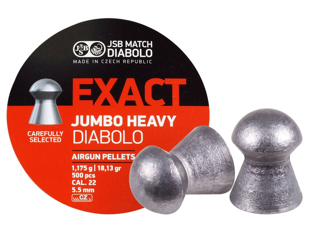 JSB Match Diabolo Exact Jumbo Heavy .22 Cal, 18.13 Grains, Domed, 500ct - Mile High AirGuns