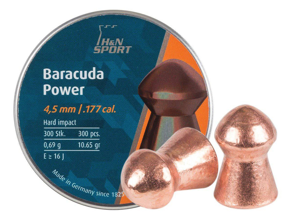H&N Baracuda Power .177 Cal, 10.65 Grains, Round Nose, 300ct - Mile High AirGuns