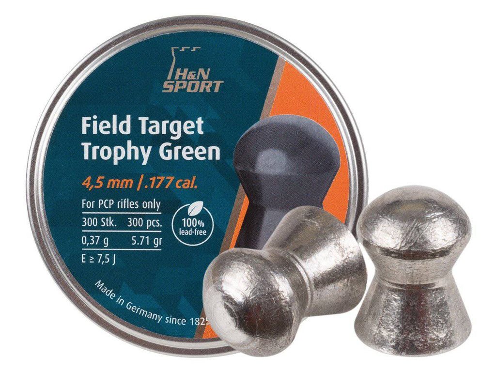 H&N Field Target Trophy Green .177 Cal, Lead-Free, 5.56 Grains, Domed, 300ct - Mile High AirGuns