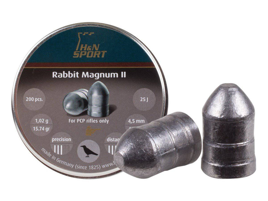 H&N Rabbit Magnum II .177 Cal, 15.74 Grains, Cylindrical with Round Nose, Solid, 200ct - Mile High AirGuns