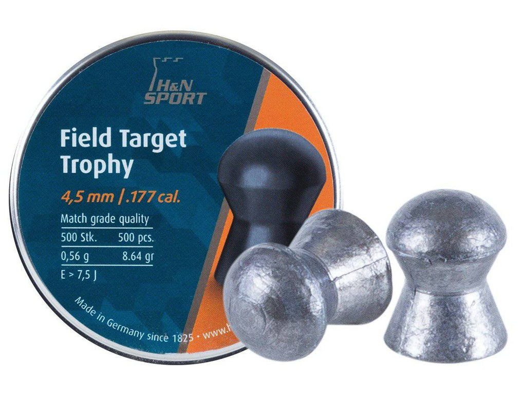 H&N Field Target Trophy, .177 Cal, 4.52mm, 8.64 Grains, Round Nose, 500ct - Mile High AirGuns