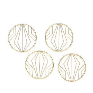 Geometric Coaster Set - Gold