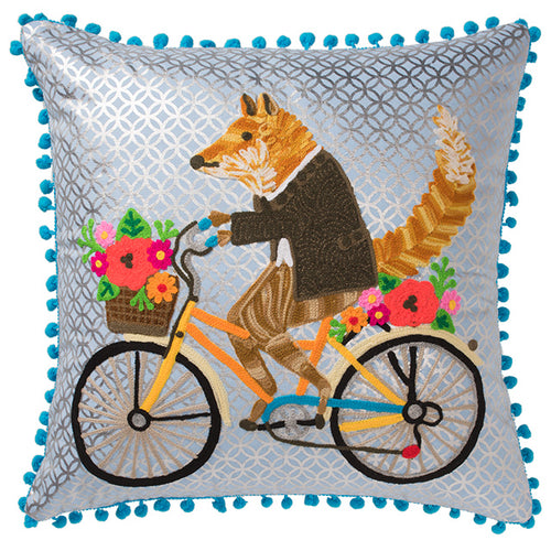 Fox on a Bike Embroidered Cushion