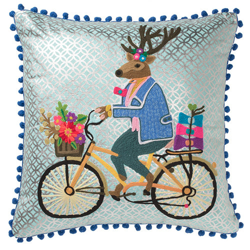 Stag on a Bike Embroidered Cushion