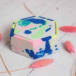 Hexagonal Marbled Jesmonite Trinket Box