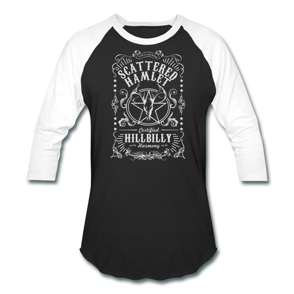 Whiskey Label Baseball T-Shirt - black/white