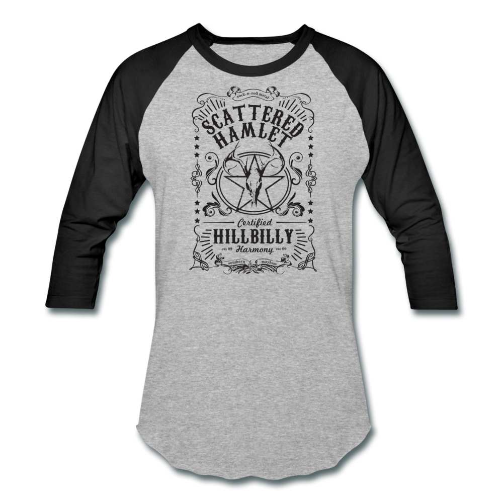 Whiskey Label Baseball T-Shirt - Grey & Black - heather gray/black