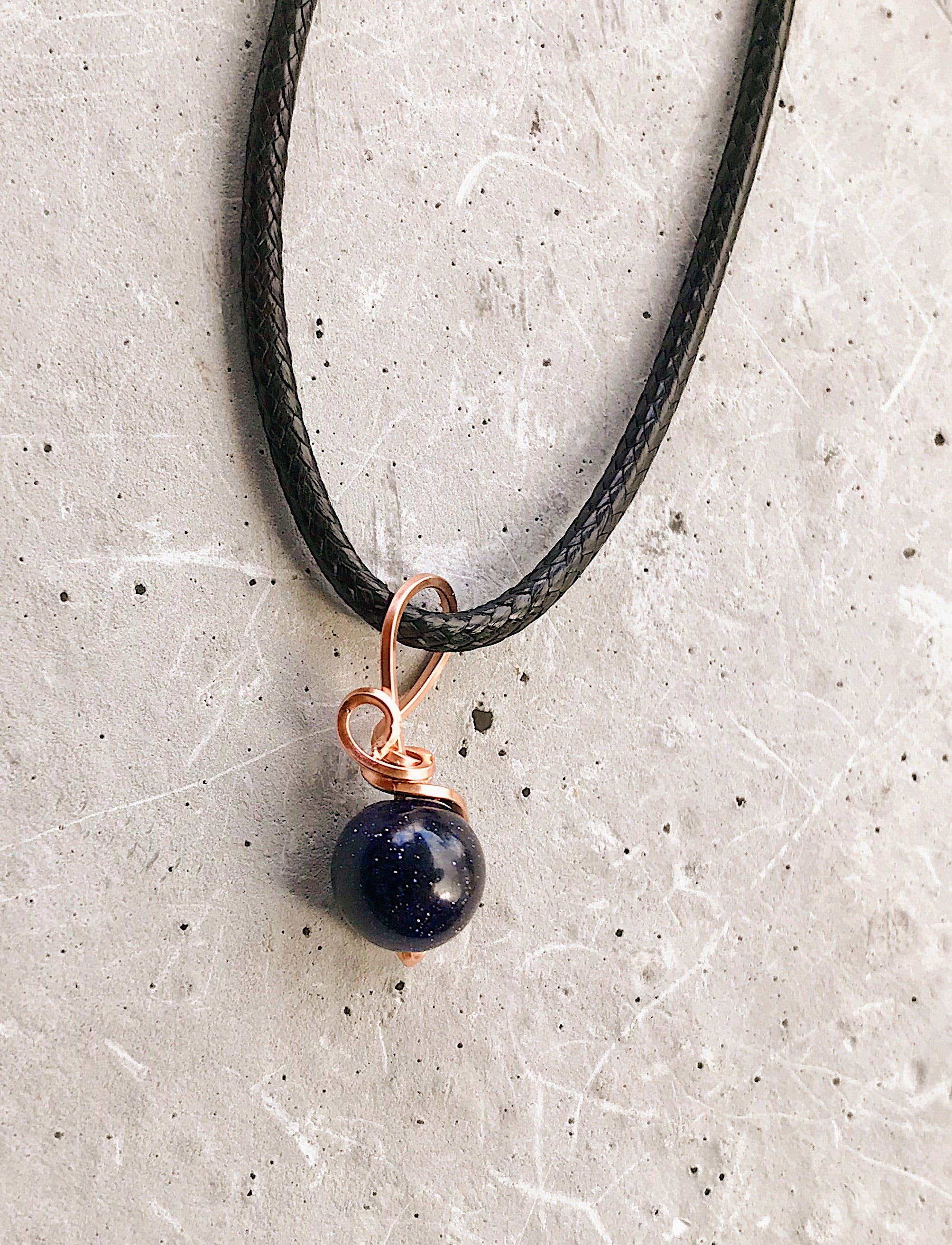 Blue Goldstone charm pendant In 14K rose gold filled wire