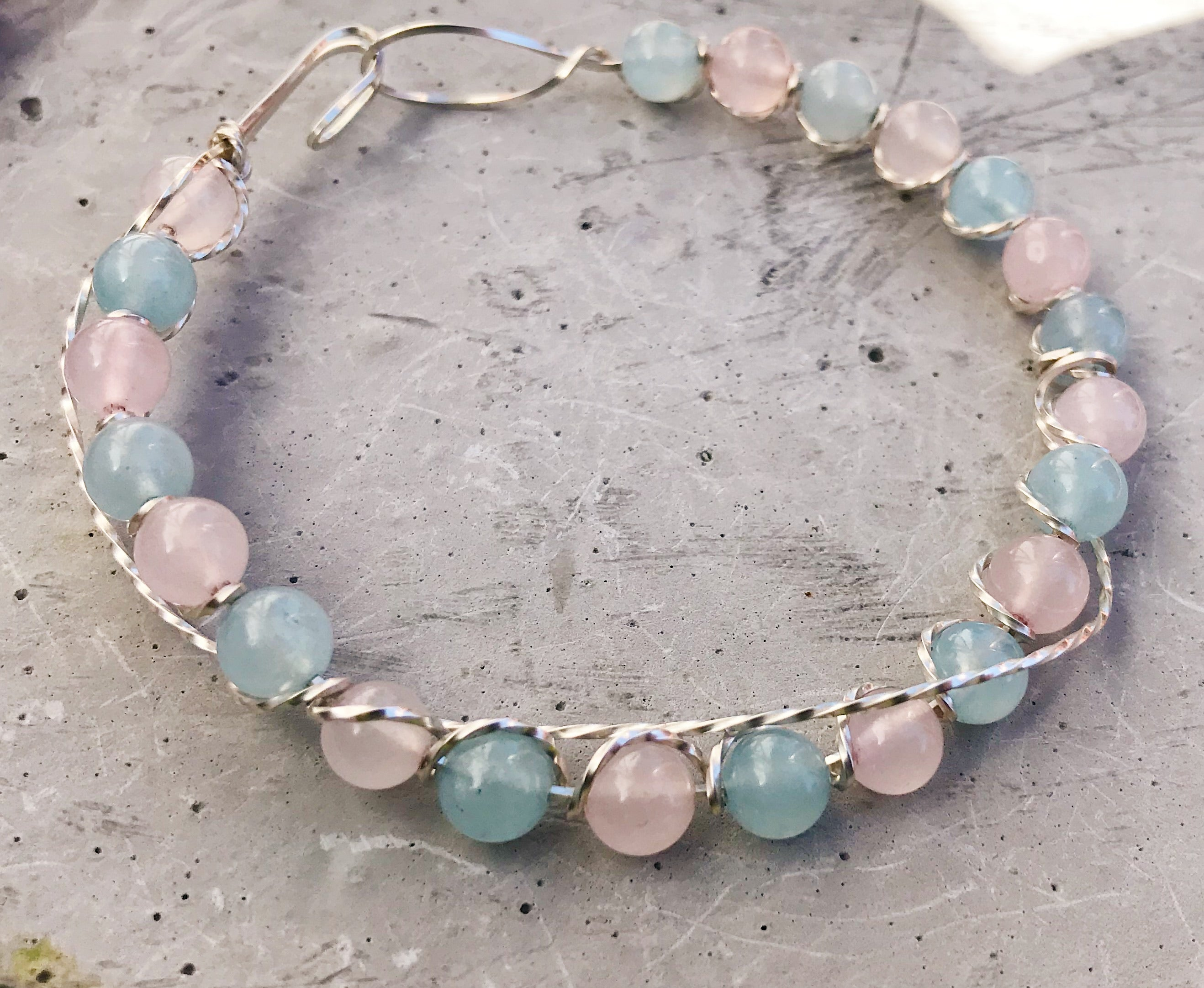 Aquamarine and Rose Quartz Bracelet in Silver