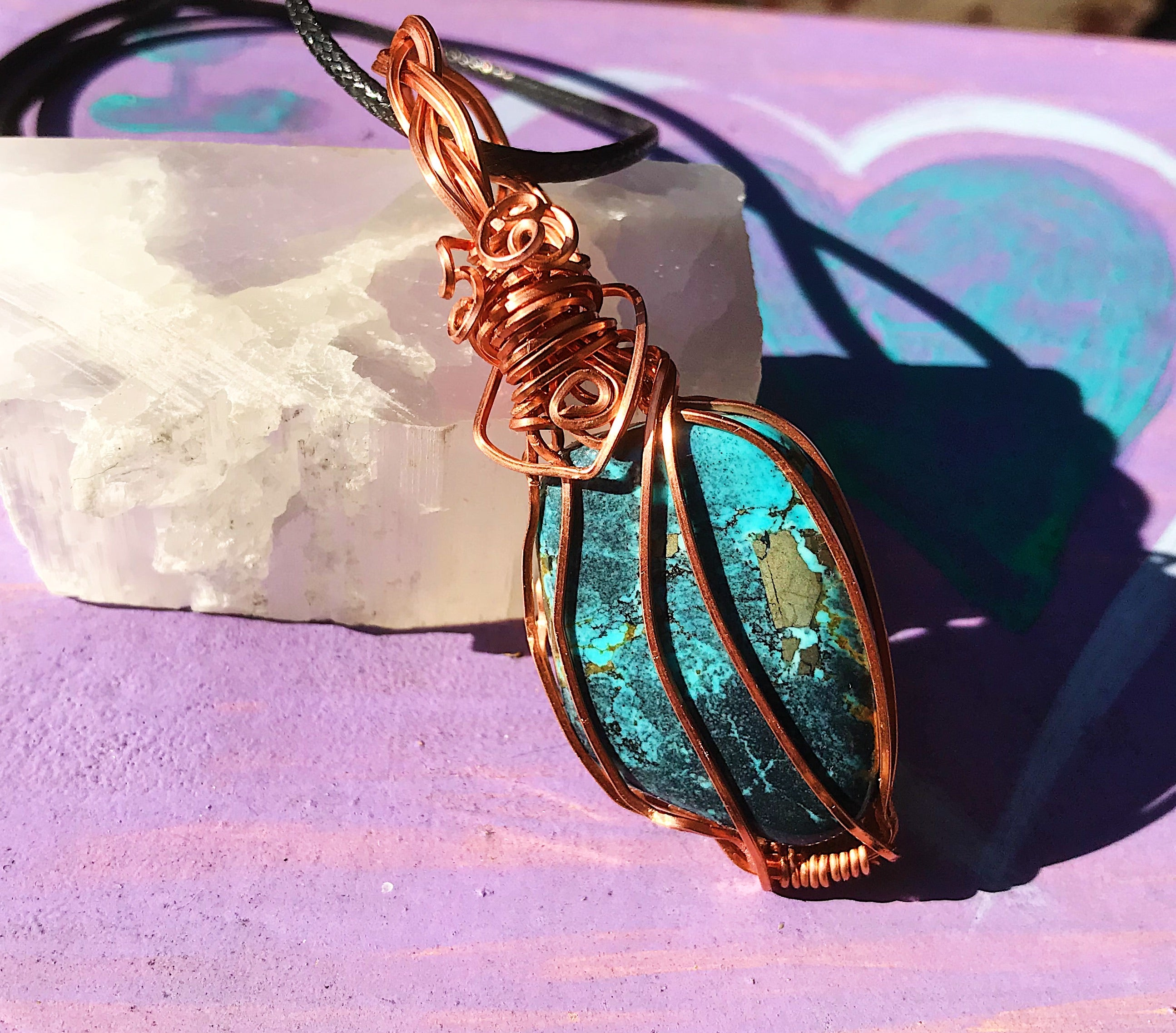 Chrysocolla pendant in copper