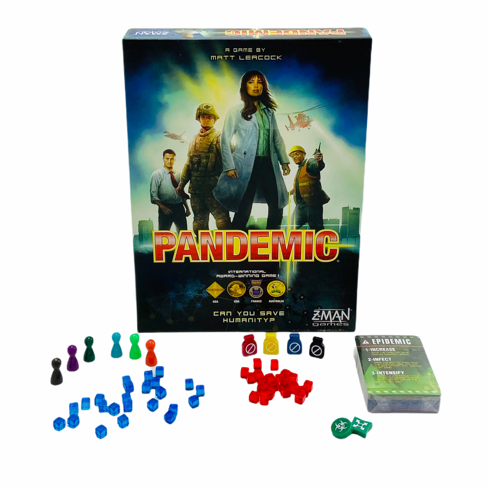 Pandemic game placed together with game pieces and cards on white background