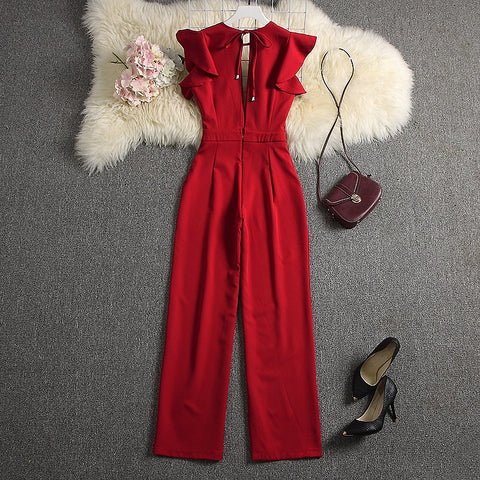 Red V-neck Jumpsuits Solid Full Length Pants
