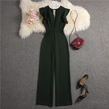 Green V-neck Jumpsuits Solid Full Length Pants
