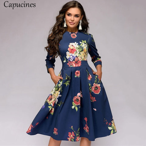 Floral Blue 3/4 Sleeves Printed Dress with Vintage Pocket