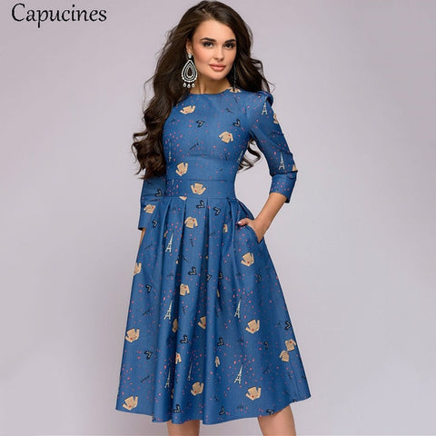 Denim Blue 3/4 Sleeves Printed Dress with Vintage Pocket