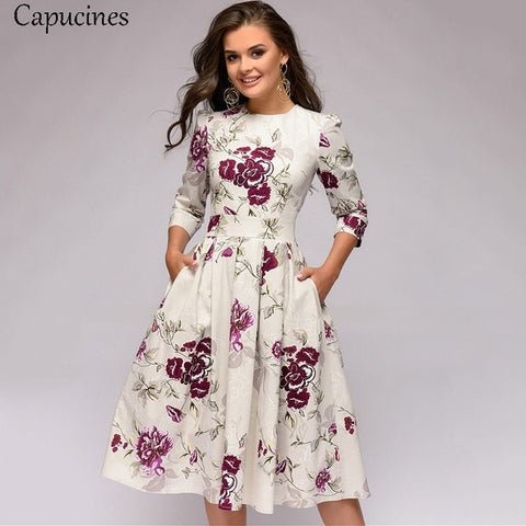 Floral White 3/4 Sleeves Printed Dress with Vintage Pocket
