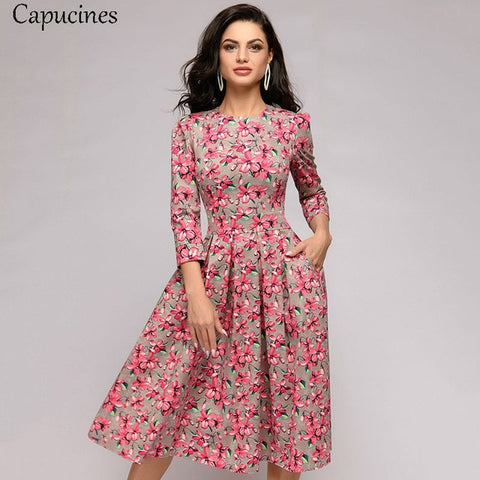 Floral Pink 3/4 Sleeves Printed Dress with Vintage Pocket