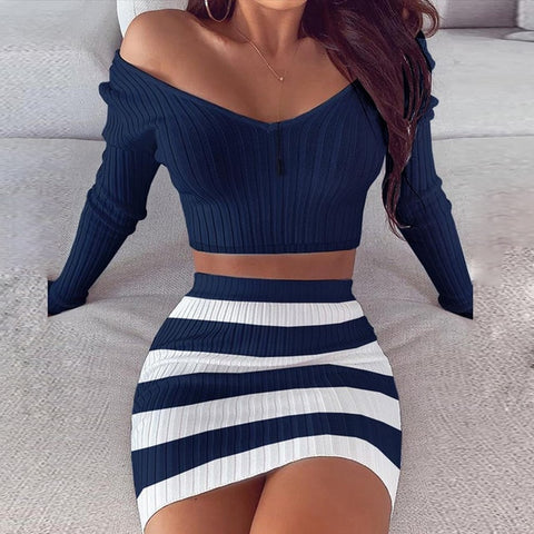 Dark Blue Bodycon Knitted Sets with Long Sleeve