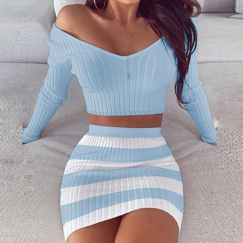 Blue Bodycon Knitted Sets with Long Sleeve