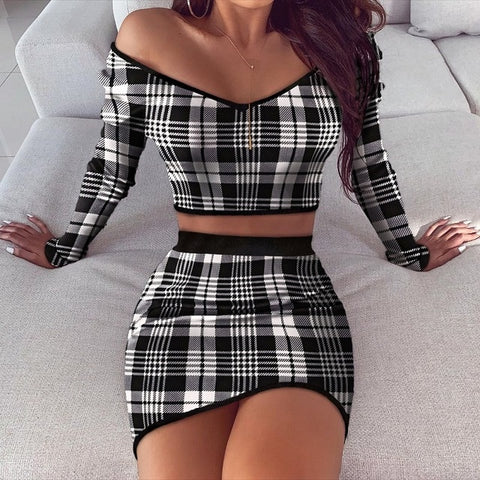 Plaid Print Bodycon Knitted Sets with Long Sleeve