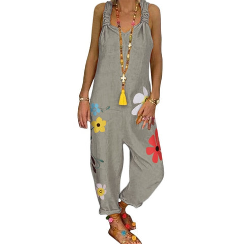 Flower Print Long Jumpsuit