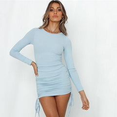 Fold Ruched Drawstrings Mini Dress