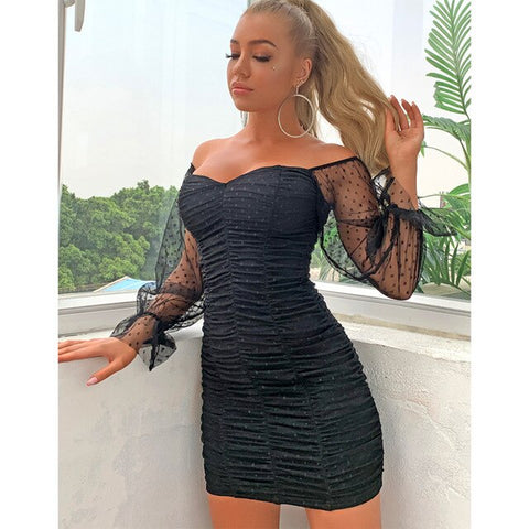 Off Shoulder Long Sleeve Mini Dress