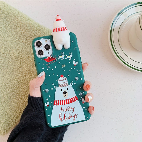 Cute 3D Doll Cartoon Christmas Phone Case for iphone