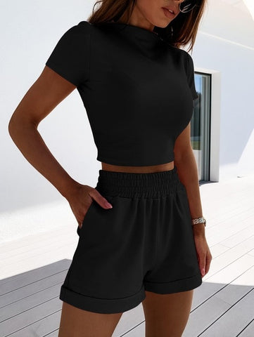 Two Piece Set Crop Top and Pocket Shorts