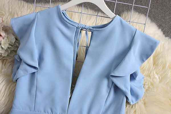 Sky Blue V-neck Jumpsuits Solid Full Length Pants