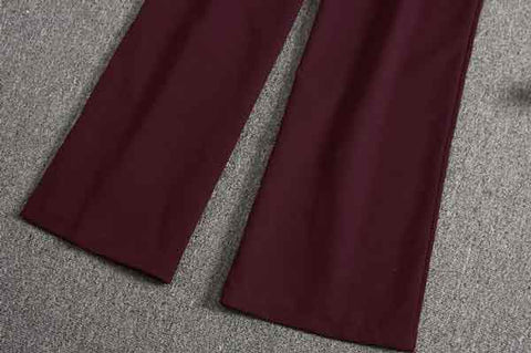 Burgundy V-neck Jumpsuits Solid Full Length Pants