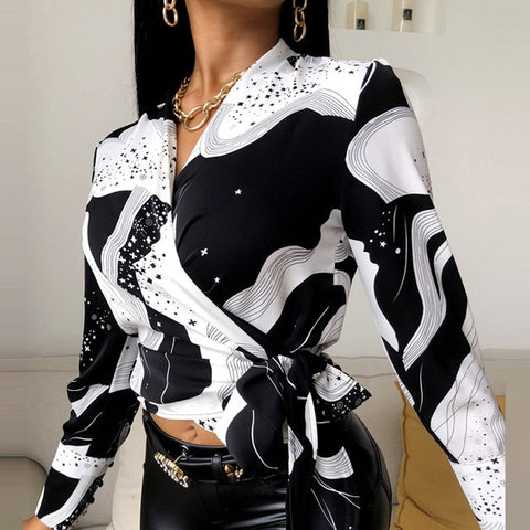 Floral Long Sleeve Blouse with Turn-Down Collar