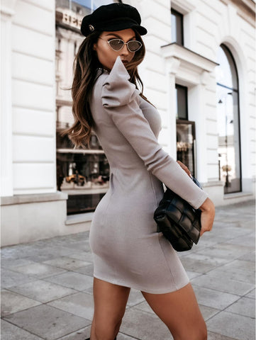 Grey Knitted Dress with Puff Sleeve