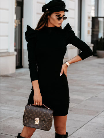 Black Knitted Dress with Puff Sleeve